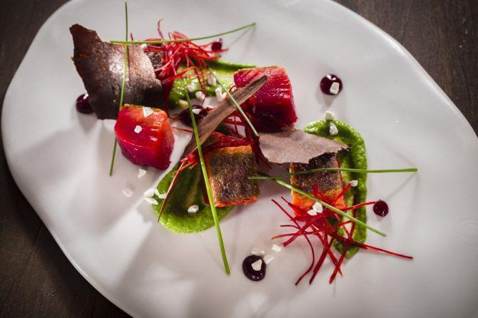 Lachs mi-cuit mariniert mit Roten Beten, grüner Sauce und Joghurt